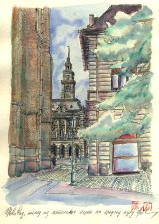 800 NS pogled iz katolicke porte na gradsku kucu (Mobile)