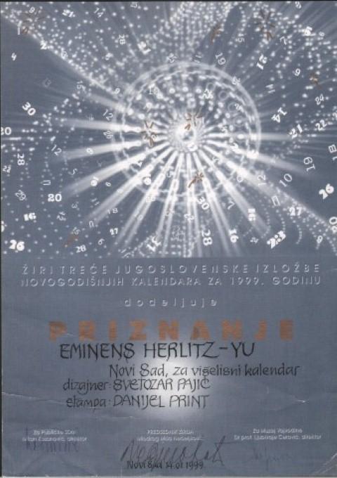 Priznanje za kalendar 1999. (Small)